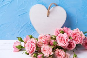 Tender pink roses flowers and  heart