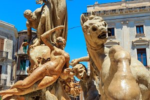 Fountain in Siracusa, Sicily, Italy