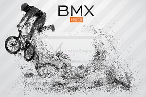 Silhouette of a BMX rider. Vector