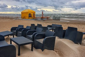 Cafe in the storm at the Baltic beach