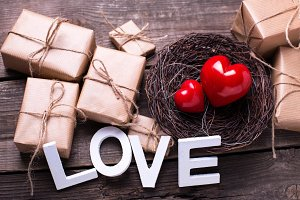 Word love, hearts and presents