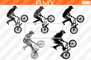 Silhouette of a BMX rider Vector set