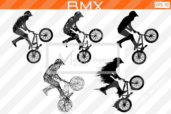 Silhouette Of A BMX Rider Vector Set