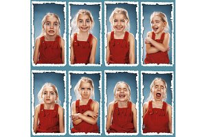 The collage of girl with different emotions