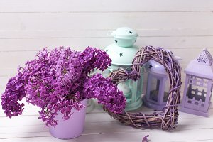 Fresh lilac, heart and lanterns