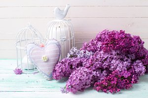 Lilac flowers, heart and lanterns