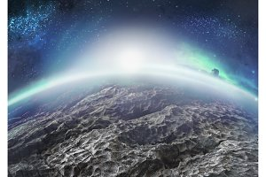 Extraterrestrial landscape of distant icy planet with nebulae
