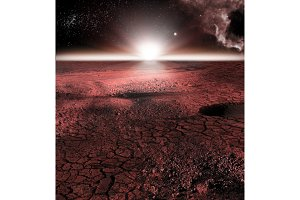 The abstract red landscape of Mars planet. Looks like cold desert on Mars. A huge field of ice