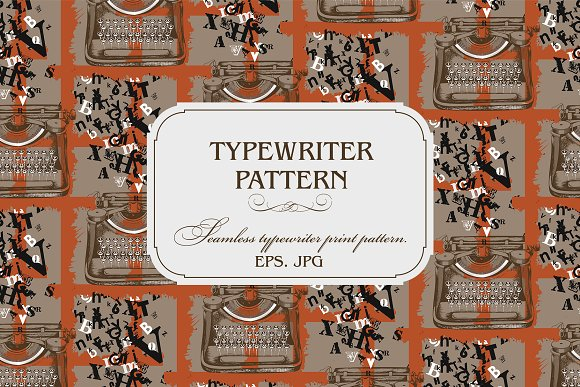 Pattern Of Vintage Typewriter