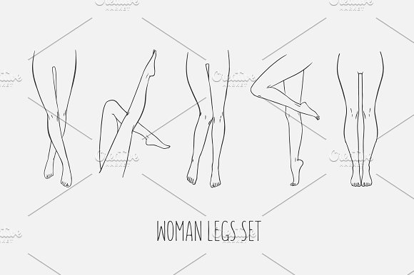 Set Of Various Female Pairs Of Legs