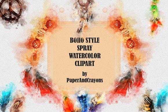 Boho Style Spray Watercolor Clipart