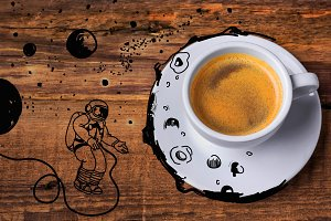Coffee cup on a wooden table.