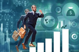young businessman jumping over steps of chart or graph