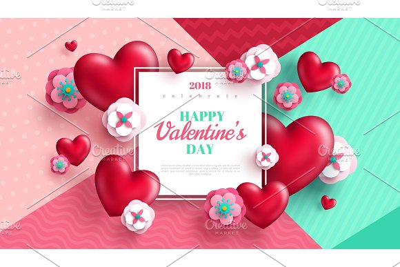 Valentines Day Concept Background With White Square Frame