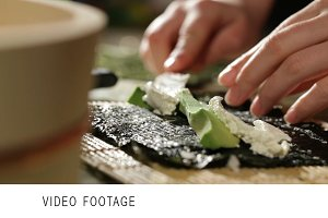 Cooking sushi roll with avocado