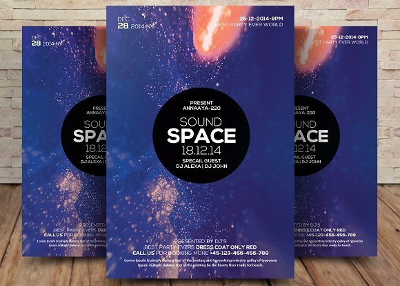 Sound Space Party Flyer Template