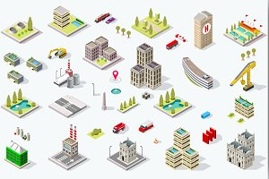 Isometric City Building Set