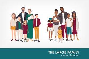 Set of large family portrait