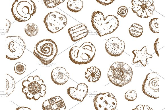 Hand Drawn Cookies Pattern Seamless