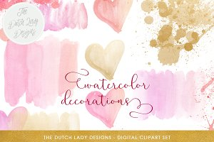 Watercolor Decoration Clipart Set