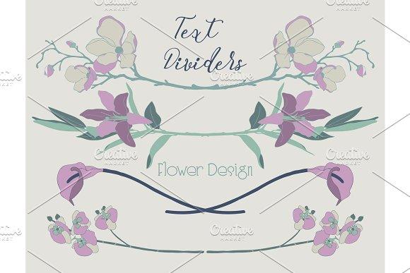 Vector Colorful Floral Text Dividers Flower Design Elements
