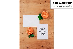 Wedding stationery mockup + flower