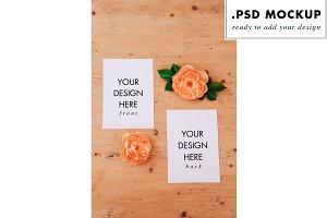 flowers wedding invitation mockup