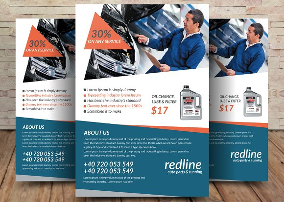 auto repair mechanic flyer template flyer templates creative market