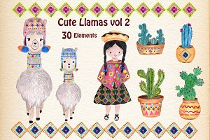 Watercolor Llama Clipart