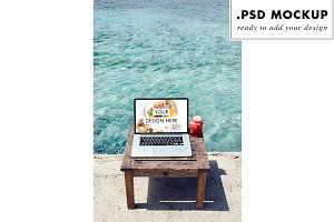 Computer PSD Mockup at the beach