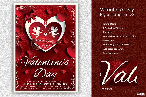 Valentines Day Flyer Template V3 Flyer Templates Creative Market