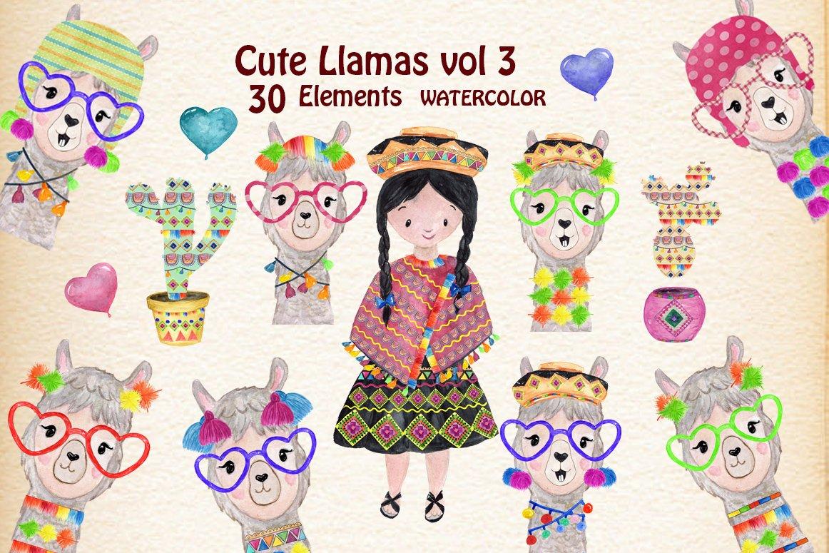 Funny Llama Clipart ~ Illustrations ~ Creative Market