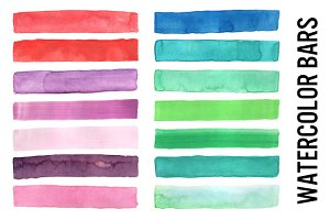 Watercolor Bars, Lines, Borders