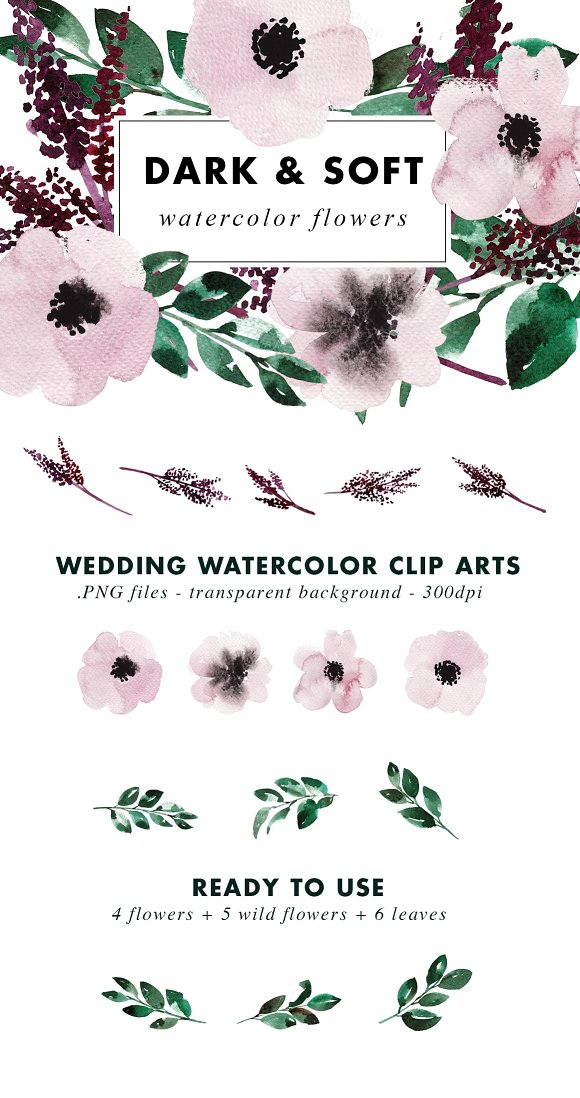 Dark Wedding Watercolor Clip Arts