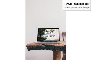 rustic wood desktop mockup