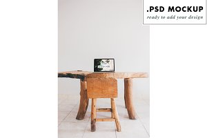 boho rustic wood table desk mockup