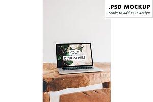 rustic wood desktop PSD mockup