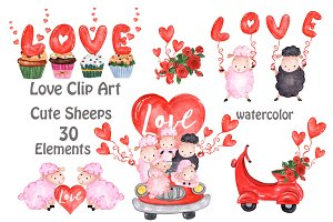 Valentine's Day Cute sheep clipart