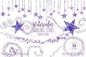 Galactic Purple Stars Clipart Set