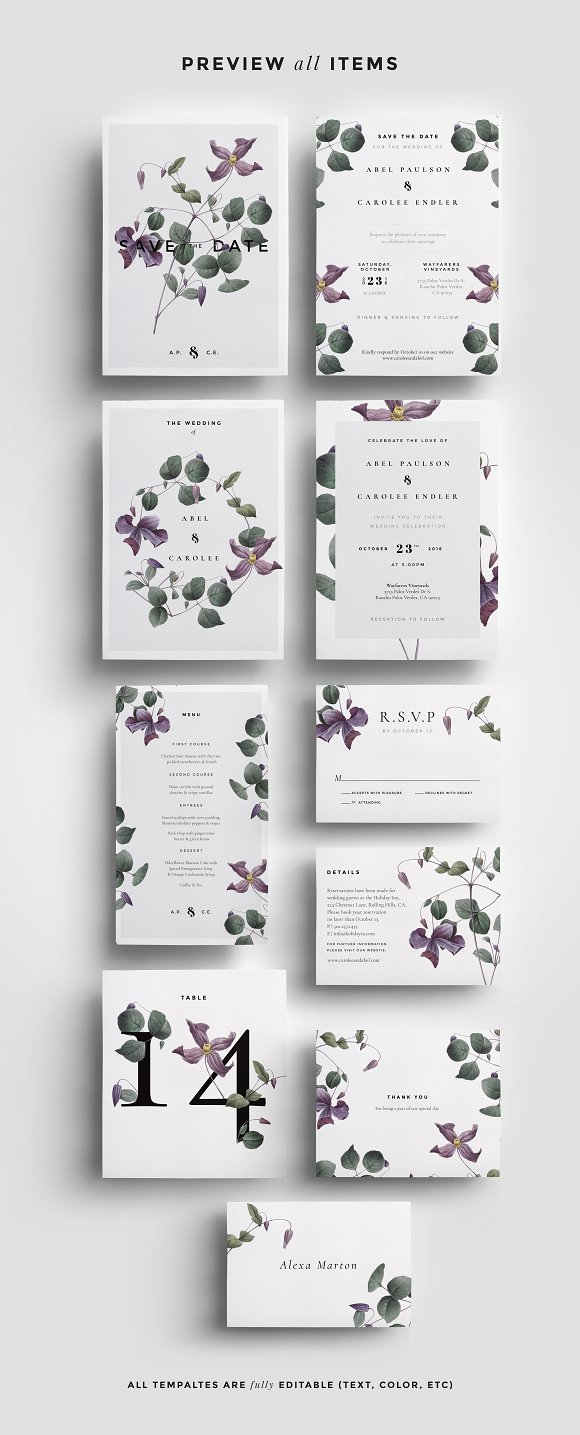 Modern Laurel P.1 Wedding Collection ~ Invitation Templates ...