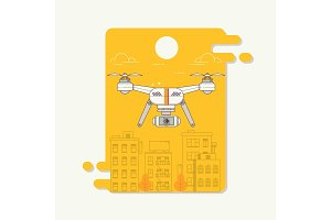 Drone and camera taking photography and video on city background.Transport concept of drones.