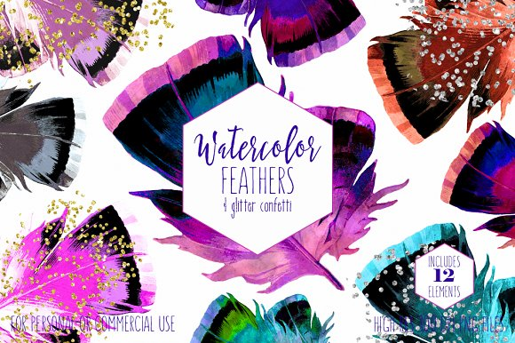 Boho Chic Watercolor Feathers