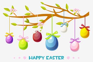 Cartoon Happy Easter illustration, greeting card hanging eggs on a tree branch
