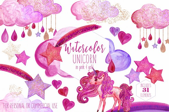 Pink & Gold Rainbow Unicorn Clipart
