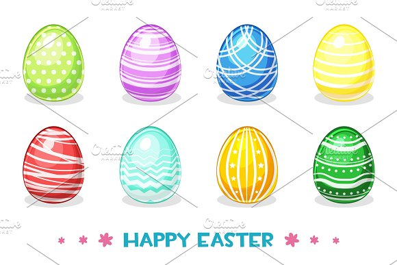 Cartoon Colored Easter Eggs With Different Ornaments