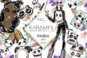 Cute Panda Girl Fashion Clipart