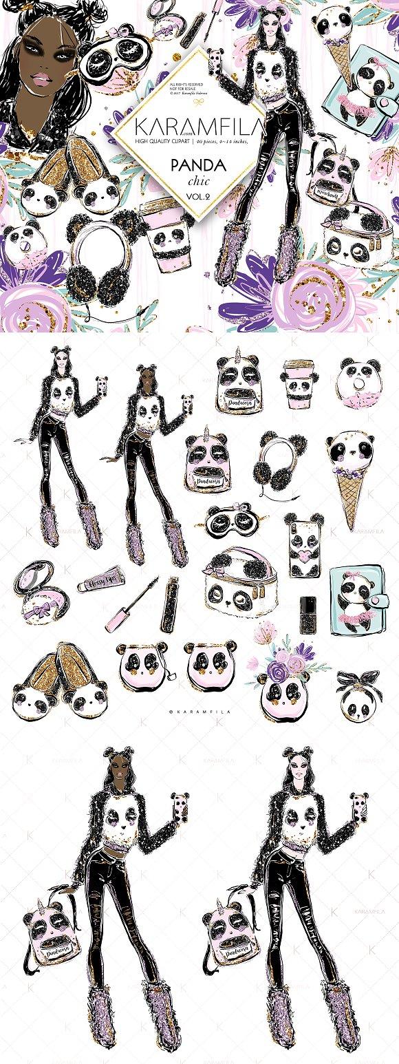 Cute Panda Girl Fashion Cli-Graphicriver中文最全的素材分享平台