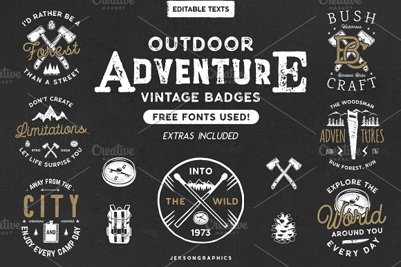 12 vintage outdoor adventure logos logo templates creative market