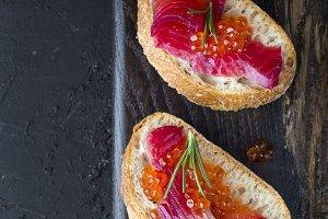 ciabatta with beet Gravlax salmon wi