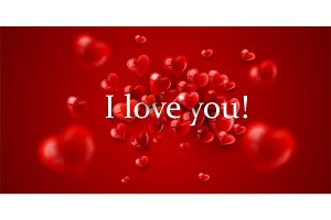 I love you message with red hearts